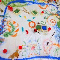 Création éphémère en EHPAD - création commune avec du sable